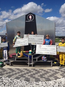 Dylan Tavella celebrates on the podium at New Castle Motorsports Park after winning the Yamaha Junior Sportsman race during the RoboPong 200  (Photo: Dylan Tavella.com)