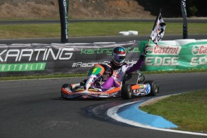 KF3 Champion Jayden Ojeda on his victory lap (Pic: Coopers Photography)