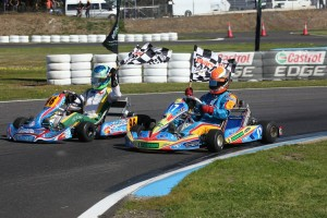 KF2 Round Winner Liam McLellan and Champion Troy Loeskow on their victory lap (Pic: Coopers Photography)