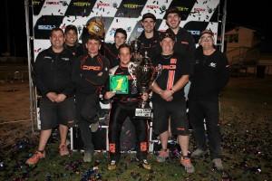 Bundaberg driver Mason Barbera celebrating with the CRG Australia team  (Pic: Coopers Photography)