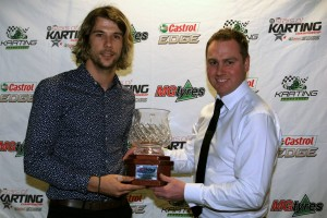 David Sera accepting the MG Tyres Driver's Driver of the Year Award from Bart Price (Pic: Coopers Photography)