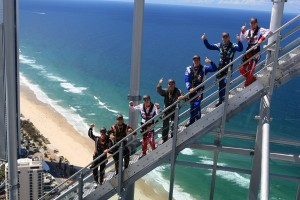 The Race of Stars international visitors on the SkyPoint Climb in Surfers Paradise today Pic: Coopers Photography