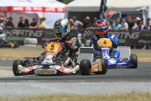 Italian Davide Forè leading Belgium driver Jonathan Thonon at the Race of Stars Pic: Coopers Photography