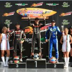 The KZ2 podium (L-R) Lorenzo Camplese, Davide Forè and Daniel Bray Pic: Coopers Photography
