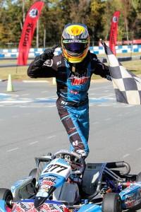Versteeg celebrating the accomplishment, winning Sunday after qualifying at the back on Friday (Photo: Studio52.us)