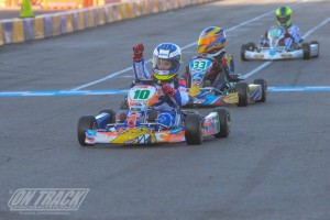 The Lenzo kart of Guiseppe Fusco crossed the stripe first in TaG Cadet (Photo: On Track Promotions - otp.ca)