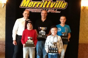 Merrittville Speedway's 2014 Lucas Oil Weekly Karting Series Champions (front row left to right) Dalton Slack (Ed MacPherson Construction Junior 2), Tucker Wood (RCM Racing Equipment Junior 1), (back row left to right) Tim Werth of Performance Manufacturing, Warren Bodman accepting on behalf of his son Corey (Wilder Racing Engines Senior Animal) and Austyn Werstroh (Superior PetroFuels Junior Restricted) (Photo: Terri Wood)