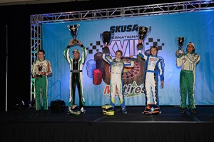 Anthony Gangi Jr. on the TaG Junior podium for SuperNats XVIII (Photo by: On Track Promotions - otp.ca)