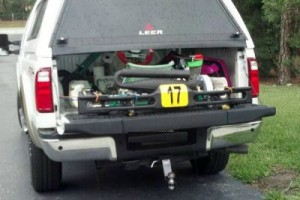 Rogero's kart loaded in the back of the truck en route to the 2012 Pan American Challenge