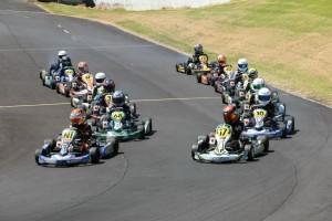 Joshua Parkinson (#NI) and Callum Hedge (#17) lead one of the rolling starts in the Vortex Mini ROK heats (Photo: Fast Company/Emilee Wright)