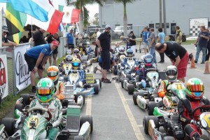 A large field of IAME Junior drivers in Homestead, ready to hit the track (Photo: Florida Pro Kart Series)