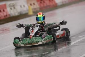Dylan Tavella scored the Saturday Mini Max feature win at a very wet Orlando Kart Center  (Photo: Cody Schindel/CanadianKartingNews.com)