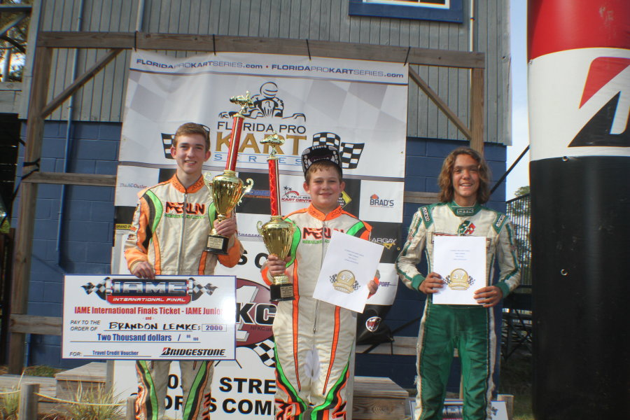 IAME Junior championship podium with title winner Brandon Lemke (Photo: Double Vision Photography - Carl Barnes)