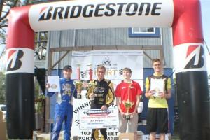 IAME Senior championship podium with title winner AJ Myers (Photo: Double Vision Photography - Carl Barnes)
