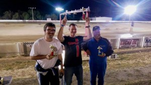 Open Class winner Darren Elliott (center) is surrounded by second place finisher Cody Night on the left  and third place finisher Steve Patton (Photo: So Cal Oval Karters)