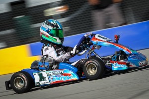 Jak Crawford score the TaG Cadet victory at the SKUSA Pro Kart Challenge event at Buttonwillow Raceway  aboard an Energy chassis (Photo: Dromophotos)