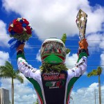 Gangi Jr. celebrates his second feature win in the 2015 ROK Cup USA series (Photo: GangiJr.com)