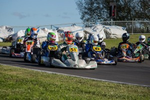 Chris Cox (SI) leads the 125cc Rotax Max Light field on his way to a win at the final round of this season's Bayley's WPKA Golstar kart series in the Hawke's Bay (Photo: Fast Company/Vicky Jack)