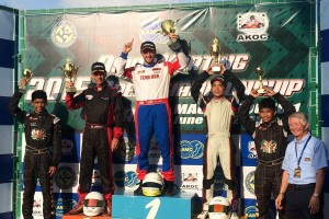 Troy Castaneda on top of the podium in Macau