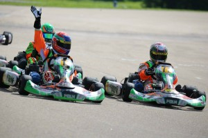 Ben Varner edge out the competition in the Yamaha Junior division for his first win of the season (Photo: Kathy Churchill - Route66kartracing.com)