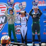 Jak Crawford is all smiles on the podium after taking the win at the second round of the US Open in Rotax Mini MAX  (Photo: Nicola Crawford)