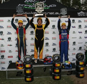 The KA Junior podium (L-R) Jack Doohan, Jordan Caruso and Declan Fraser (Pic: Coopers Photography)