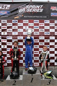 Indy Ragan stood on top of the podium in Kid Kart both days (Photo: Kathy Churchill - Route66kartracing.com)