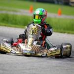 TJ Koyen drove to both wins against the packed Yamaha Senior field (Photo: Kathy Churchill - Route66kartracing.com)