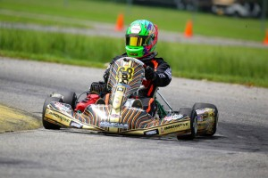 TJ Koyen drove to both wins against the packed Yamaha Senior field (Photo: Kathy Churchill - Route66kartracing.com)