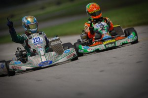 Zach Holden edged out Brandon Lemke for his first SKUSA victory in TaG Junior (Photo: On Track Promotions - otp.ca)