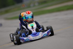 Lachlan DeFrancesco celebrates his victory at the New Castle Motorsports Park (Photo: On Track Promotions - otp.ca)