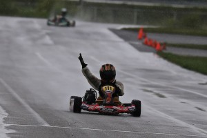 Tristan Farber was the only driver on rain tires, scoring a last lap win in Yamaha Cadet on Sunday (Photo: Kathy Churchill - Route66kartracing.com)