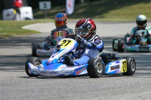 Cadet rookie Tyler Maxson posted his first victory with the triumph in Mini Rok Cadet (Photo: EKN)