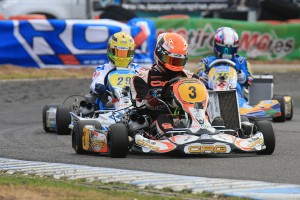 Kyle Ensbey leading the way in the KZ2 final  (Pic: Coopers Photography)