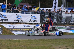 Zane Morse crossing the line for victory in KF3 (Pic: Coopers Photography)