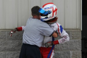 Mike celebrates with his mechanic and father Brian McAndrews (Photo: Kathy Churchill - USPKS)