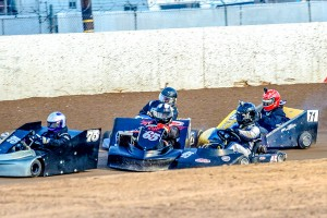 Tight action in the So Cal Oval Karter's Open Class earlier this year at Wheel2Wheel Raceway (Photo: Schnarzy)