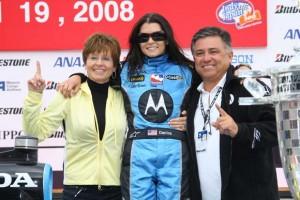 The Patrick family celebrating Danica's IndyCar win in Japan back in 2008