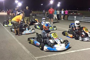 Tyler Bruno (#259) starts the final on pole with eventual Race #8 winner Logan McDonough (#232) starting on the outside