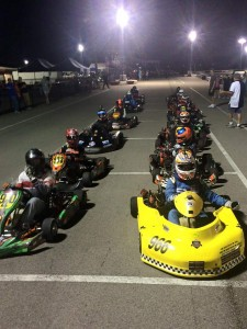 Greg Lacoste Jr. (#966) leads the 14 kart field for the Senior 4-Cycle Final