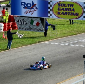 Jak Crawford taking the victory in his final heat race at the Rok Cup International Final (Photo: J. Crawford)