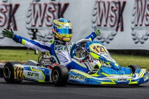 Logan Sargeant taking the victory at the 2015 CIK-FIA World Karting Championships in KFJ (Photo: logansargeant.com)