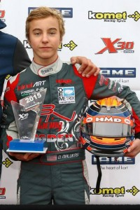 David Malukas earning the trophy for top qualifier in Junior at the IAME International Final (Photo: IAME)