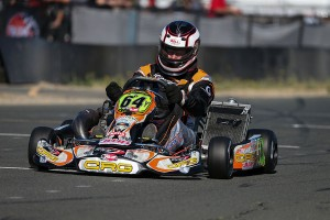 Patrick O'Neill powered his Ron White Racing CRG machine to victory in the Stock Honda Masters category at the Sanzaru Games Karting Championships (Photo: DromoPhotos.com)