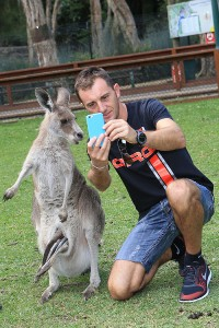 Davide Forè taking a selfie with a Kangaroo  (Photo: Coopers Photography)