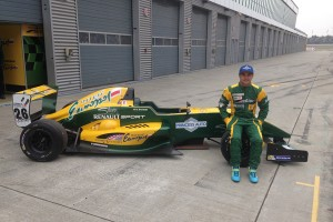 Cedrik Lupien with David Richert's race car at Eurospeedway Lausitz in Germany