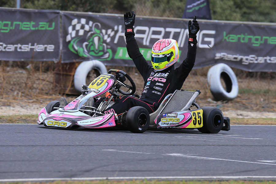 Jason Pringle celebrating his win in KZ2 (Pic: Coopers Photography)