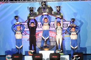 Three Team BENIK drivers on the podium at the SKUSA SuperNationals (Photo: On Track Promotions - otp.ca)