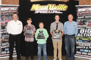 Merrittville Speedway's Co-owners Randy Williamson and Pete Bicknell surround 2015 Performance Manufacturing Kart Champions (left to right) Dalton Slack (Ed MacPherson Construction Junior 2), Tucker Wood (RCM Racing Equipment Junior 1) and Dylan Culp (Wilder Racing Engines Senior Animal). Superior PetroFuels Junior Restricted Champion Joshua Hansen was unable to attend as he was racing in Georgia.