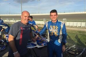 Brandon Jarsocrak celebrates with his father Ed following his Pro IAME Senior win (Photo: Alycia Hodapp - EKN)